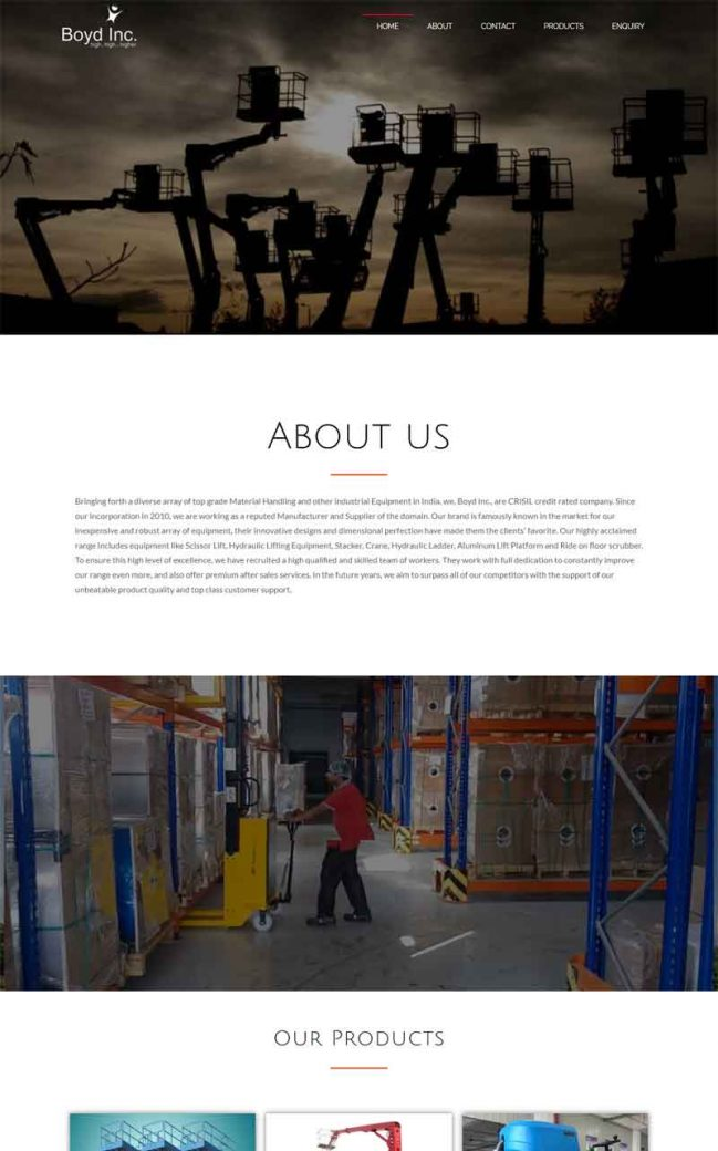Company Profile with Products Website